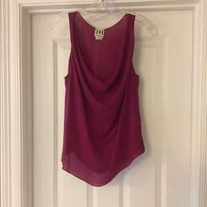 Haute Hippie fuchsia cowl neck silk top